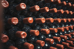 Patterm of wine bottles Stock Images