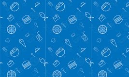 RESTAURANT pattern blue food fish,pizza stock illustration