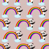 Seamless pattern with panda and rainbow - vector illustration, eps stock illustration