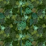 Pattern with botanical elements of different shapes stock illustration