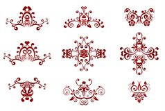Pattern. Claret symmetric patterns from curls on a white background Stock Image