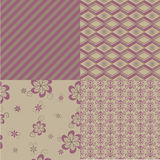 Pattern. Set of four beautiful fabric pattern Royalty Free Stock Image
