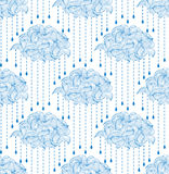 Pattern with abstract clouds and raindrops Royalty Free Stock Photos