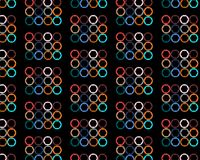 Pattern of abstract, colorful, bright, motley circles with hexahedrons inside painted in the most fashionable colors of 2018 on a. Black background. Vector Royalty Free Stock Images