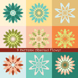 9 Pattern Abstract Flower. For background, your design, etc Stock Photos