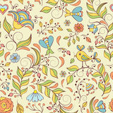 pattern with abstract flowers and bird Royalty Free Stock Photo