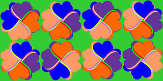 Pattern of abstract flowers composed of colorful h. Colorful hearts form two rows of abstract flowers on a green background stock illustration