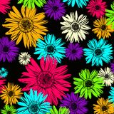Pattern with abstract flowers daisy. Vector Illustration Stock Photos