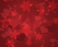 Pattern with abstract flowers and hearts. Stock Photo