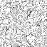 Pattern with abstract flowers,leaves and hearts. Vector illustration of seamless pattern with abstract flowers,leaves and hearts Stock Image