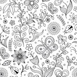 Pattern with abstract flowers. Vector illustration of seamless pattern with abstract flowers.Coloring page for adult Stock Images