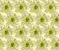 Pattern of abstract flowers. On a yellow background royalty free illustration