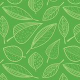 Pattern of abstract leaves. Seamless pattern of abstract outline leaves on a bright green background Royalty Free Stock Photos