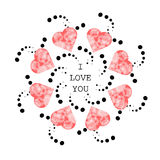 Pattern with abstract pink hearts in ethnic style for drawing  Royalty Free Stock Images