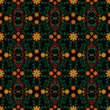 Pattern abstract red flower yellow black design green leaf vector graphics Royalty Free Stock Image