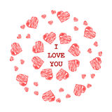 Pattern with abstract red hearts in ethnic style for drawing  Royalty Free Stock Photography
