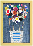 Pattern air balloon of buttons in the frame on jeans background. Valentine card - frame for couple in love , big heart, pattern air balloon of buttons in the Royalty Free Stock Photos