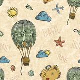 Pattern with air balloon. Seamless background pattern with air balloon. Retro style. Vector illustration Stock Images