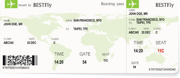 Pattern of airline boarding pass ticket Royalty Free Stock Photo