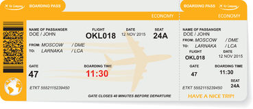 Pattern of airline boarding pass ticket Royalty Free Stock Images