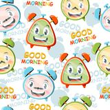 Pattern with alarms. A bright pattern with funny cartoon alarms Royalty Free Stock Photos