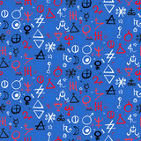 Pattern with alchemy symbols Stock Photography
