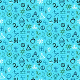 Pattern with alchemy symbols Stock Photo