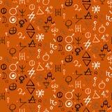 Pattern with alchemy symbols Stock Photos