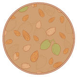 Pattern with almonds in a circle shape Royalty Free Stock Images