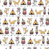 Pattern with american indian animals. Seamless ethnic pattern with funny american indian animals, foxes, owls, wolfs Royalty Free Stock Photography