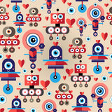 Pattern amusing lovers robots Stock Photography