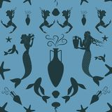 Pattern of ancient Greece mermaid and triton carrying an amphora. Mediterranean mythology Stock Image