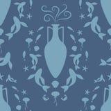 Pattern of ancient Greek amphora and Mediterranean sea symbols Royalty Free Stock Images