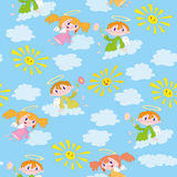 Pattern angels and suns Stock Photo