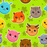 Pattern with animal faces Royalty Free Stock Images