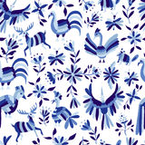 Pattern of animal and flower in blue indigo color Stock Photos