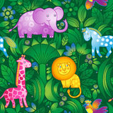 Pattern with animals. Bright seamless pattern with animals from the jungle. Animals are shown on background of tropical trees and flowers. It can be used for Royalty Free Stock Image