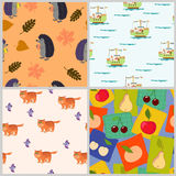 Pattern with animals and  fruits Stock Photo