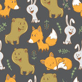 Pattern with animals. Seamless pattern with cute cartoon bears, foxes, hares and plants. Funny forest animals. Children's illustration. Vector image Stock Photos