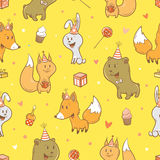 Pattern with animals. Seamless pattern with cute cartoon foxes, hares, squirrels and bears on  yellow background. Funny forest animals. Birthday gifts, sweets Royalty Free Stock Image