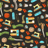 Pattern with animals sewing elements Stock Photography