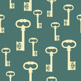 Pattern with antique keys Stock Photos