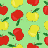 Pattern with apples. Green seamless pattern with red and green apples Royalty Free Stock Photography