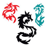 Pattern with Asian Dragon Tribal Tattoo Stock Images