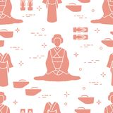 Pattern. Asian woman, japanese clothing, shoes. royalty free illustration