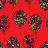 Pattern of asymmetric colored balloons. Vector seamless pattern of asymmetric colored balloons with geometric elements on a red background. festive wrapping Stock Photo