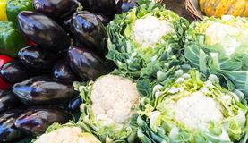 Pattern of aubergines and cauliflowers on a Paris market stall Stock Images