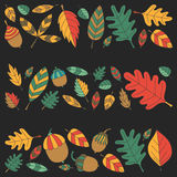 Pattern with autumn leaves Oak Mapple Acorn Linden Royalty Free Stock Photo