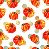 Pattern from autumn leaves painted with watercolors on white background. Coloured bright leaves hand-painted, paint. Pattern from autumn leaves painted with Royalty Free Stock Images