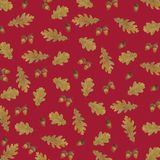 Pattern of autumn leaves watercolor royalty free illustration